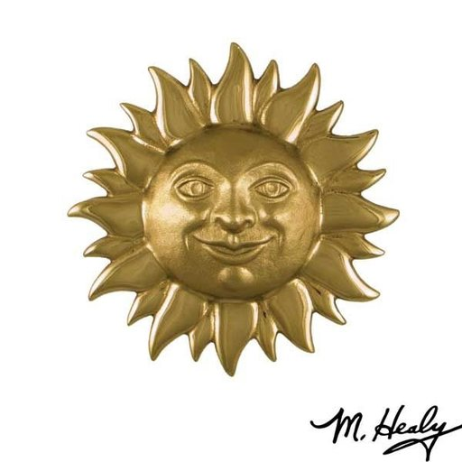 View a Larger Image of Smiling Sunface Door Knocker, Polished and Highlighted Brass