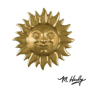 Smiling Sunface Door Knocker, Polished and Highlighted Brass