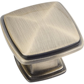 "Milan 1 Plain Square Knob, 1-3/16"" O.L.,, Brushed Antique Brass"