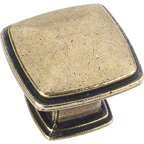 "Milan 1 Plain Square Knob, 1-3/16"" O.L.,,  Distressed Antique Brass"