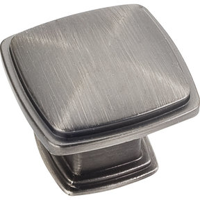 "Milan 1 Plain Square Knob, 1-3/16"" O.L.,, Brushed Pewter"