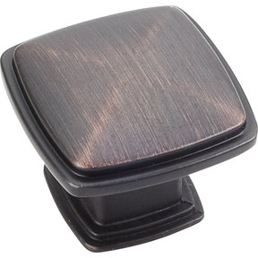 "Milan 1 Plain Square Knob, 1-3/16"" O.L.,, Brushed Oil Rubbed Bronze"