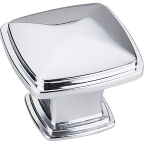 "Milan 1 Plain Square Knob, 1-3/16"" O.L.,, Polished Chrome"