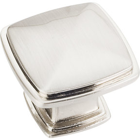 "Milan 1 Plain Square Knob, 1-3/16"" O.L.,, Satin Nickel"