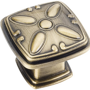 "Milan 2 Detailed Square Knob, 1-3/16"" O.L.,, Brushed Antique Brass"