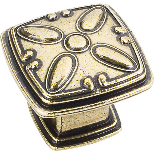 "View a Larger Image of Milan 2 Detailed Square Knob, 1-3/16"" O.L.,,  Distressed Antique Brass"