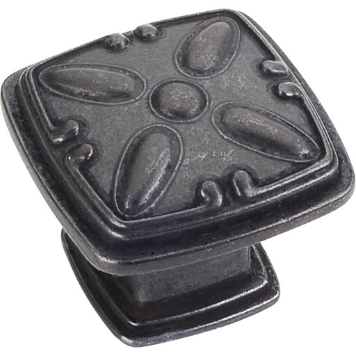 "View a Larger Image of Milan 2 Detailed Square Knob, 1-3/16"" O.L.,, Gun Metal"