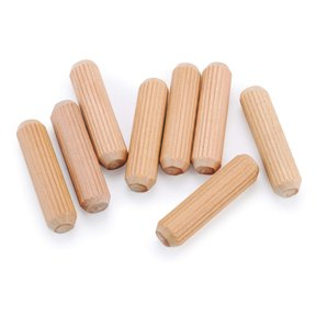 "30pc 3/8"" x 1-1/2"" Fluted Wooden Dowel Pins"