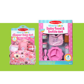 Mine to Love Doll Feeding and Changing Accessories Set, Diaper Bag Set, Baby Food & Bottle Set, Promotes Pretend Play Sk