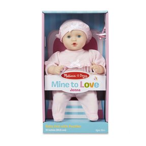Mine to Love Jenna 12-Inch Soft Body Baby Doll, Romper and Hat Included, Wipe-Clean Arms & Legs