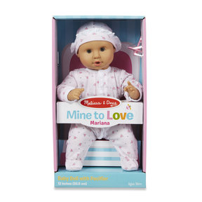 Mine to Love Mariana 12-Inch Baby Doll, Romper and Hat Included, Wipe-Clean Arms & Legs