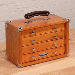 T-12 4-Drawer Mini Portable Chest, Red Oak