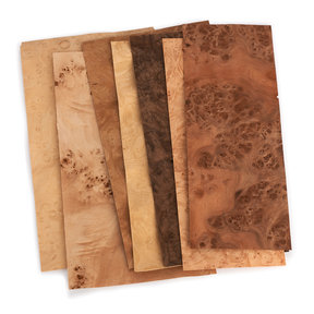 "Burl Mixed Variety Pack 4-1/2"" to 7-1/2"" Width 3 sq ft Pack Wood Veneer"