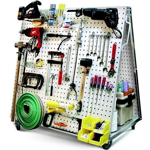 View a Larger Image of Mobile Tool Cart with LocBoard Steel Square Hole Peg Board