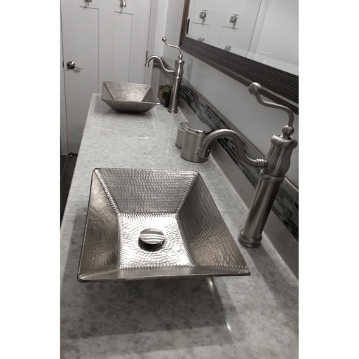View a Larger Image of Modern Rectangle Hand Forged Old World Copper Vessel Sink in Nickel