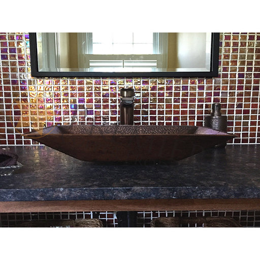 View a Larger Image of Modern Rectangle Hand Forged Old World Copper Vessel Sink