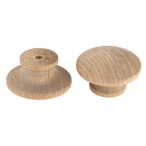 "Mushroom Knob, Birch, 1-1/2"" Dia., 15/16"" Tall, w/screws 2-piece"