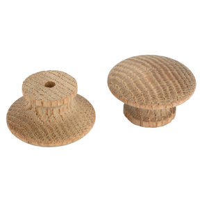 "Mushroom Knob, Oak 1-1/4"" Dia., 13/16"" Tall, w/screws  2-piece"