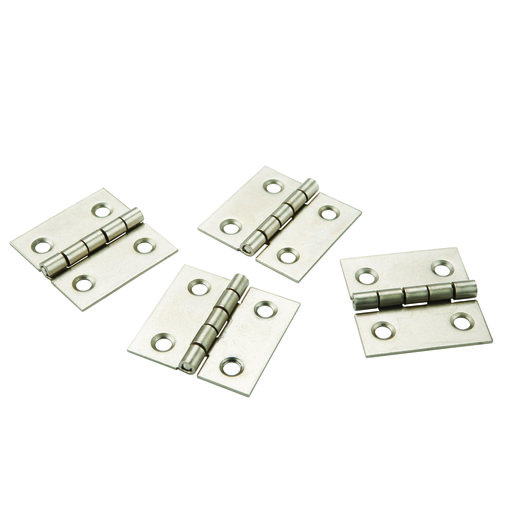 "View a Larger Image of Miniature Narrow Hinge 1"" Long x 1"" Open Satin Nickel with screws, 2-pair"