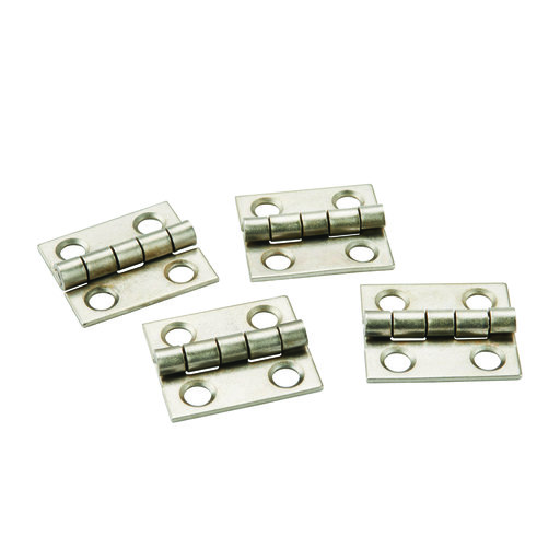 "View a Larger Image of Miniature Narrow Hinge 3/4"" Long x 5/8"" Open Satin Nickel with screws, 2-pair"