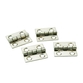 "Miniature Narrow Hinge 3/4"" Long x 5/8"" Open Satin Nickel with screws, 2-pair"