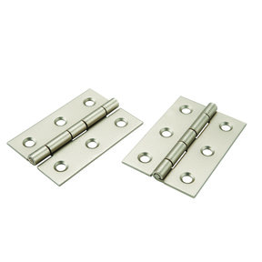 "Narrow Hinge 2"" Long x 1-3/8"" Open Satin Nickel with screws, pair"