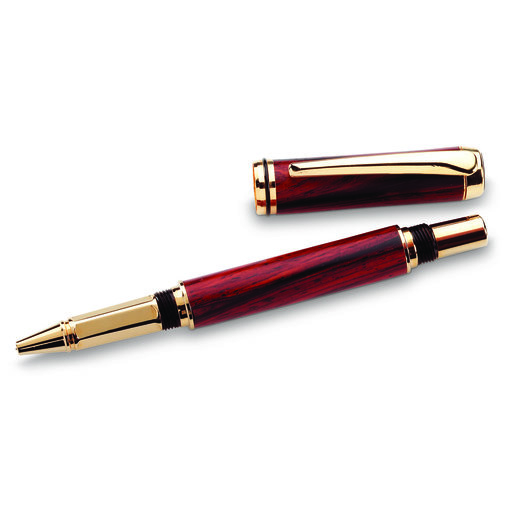 View a Larger Image of Navigator Screw Cap Rollerball Pen Kit - Cobalt Gold