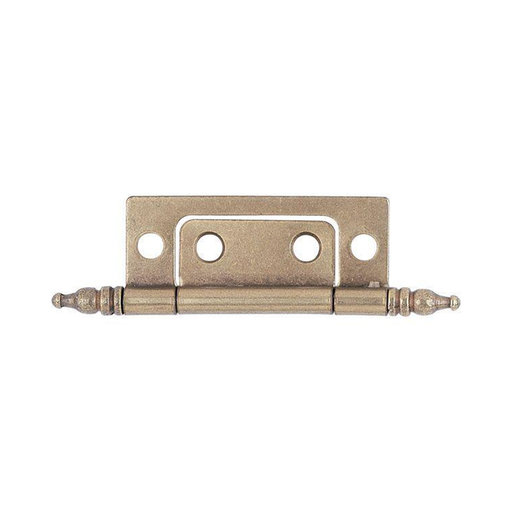 "View a Larger Image of Non-Mortise Cabinet Hinge, Antique Brass 7/8"" x 2"", Pair"