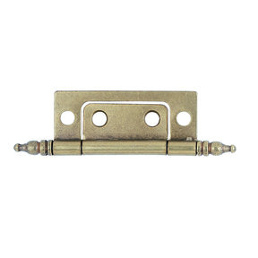"Non-mortise Cabinet Hinge, Hand-Rubbed Brass 7/8"" x 2"", Pair"