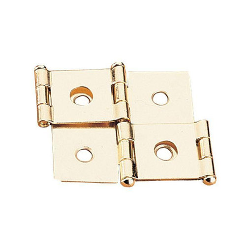 "View a Larger Image of Non-mortise Hinge Polished Brass Plated, Pair, fits 1-1/8"" Panels"