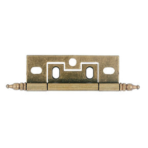 "Non-Mortiser Cabinet Hinge, Hand-Rubbed Brass 1"" x 2-1/2"", Pair"