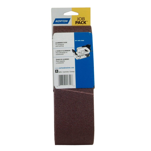 "View a Larger Image of 3"" x 21"" Aluminum Oxide Sanding Belt, 120 Grit, 5 pack"