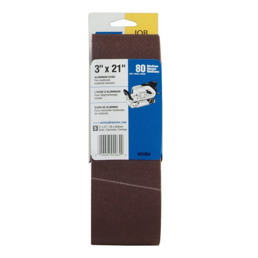 "View a Larger Image of 3"" x 21"" Aluminum Oxide Sanding Belt, 80 Grit, 5 pack"