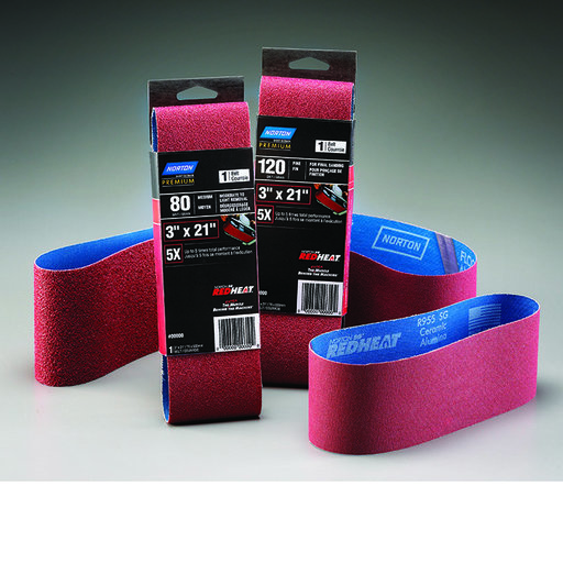 "View a Larger Image of 3"" x 21"" Redheat Ceramic Sanding Belt, 120 Grit"