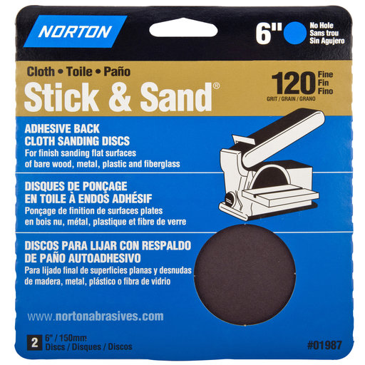"View a Larger Image of 6"" PSA Cloth Sanding Disc 120 Grit 2 pk"