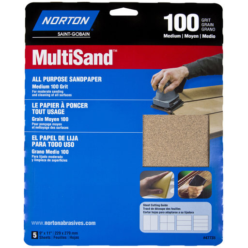 """View a Larger Image of 9"""" x 11"""" All Purpose Sandpaper 100 Grit 5 pk"""