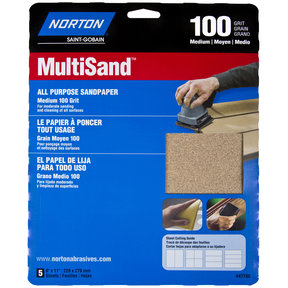 "9"" x 11"" All Purpose Sandpaper 100 Grit 5 pk"