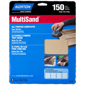 "9"" x 11"" All Purpose Sandpaper 150 Grit 5 pk"