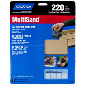 "9"" x 11"" All Purpose Sandpaper 220 Grit 5 pk"