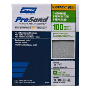 "9"" x 11"" Sanding Sheets, 100 Grit, 20 pack"