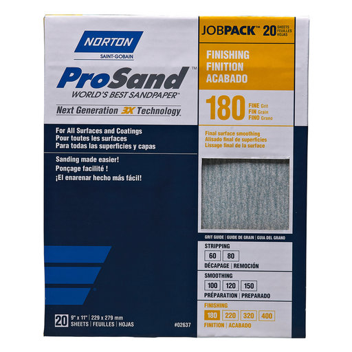 """View a Larger Image of 9"""" x 11"""" ProSand Sanding Sheets 180 Grit 20 pk"""