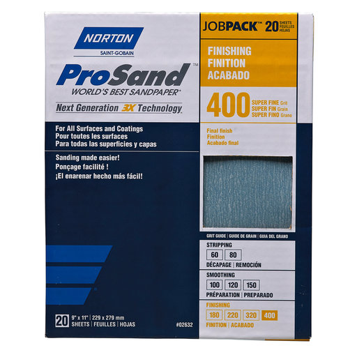"View a Larger Image of 9"" x 11"" Sanding Sheets, 400 Grit, 20 pack"