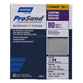 "9"" x 11"" Sanding Sheets, 80 Grit, 20 pack"