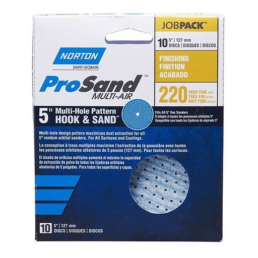 "View a Larger Image of ProSand MULTI-AIR 5"" Multi-Hole Pattern Hook & Sand Disc, 220 grit, 10 pack"