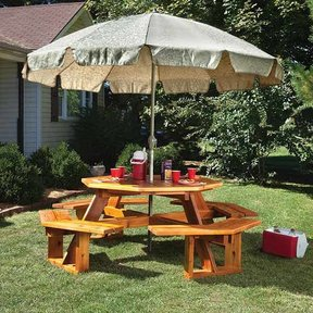 Octagonal Picnic Table w/Lazy Susan - Paper Plan
