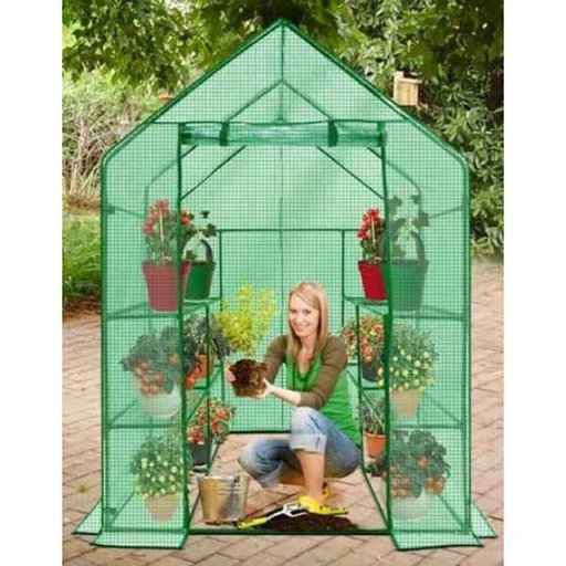 View a Larger Image of Deluxe WALK-IN - 2 Tier, 8 Shelf Portable Greenhouse