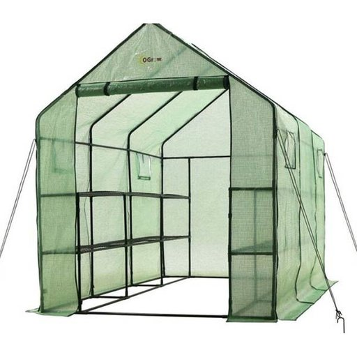 View a Larger Image of Walk-in - 2 Tier, 12 Shelf portable Greenhouse with windows