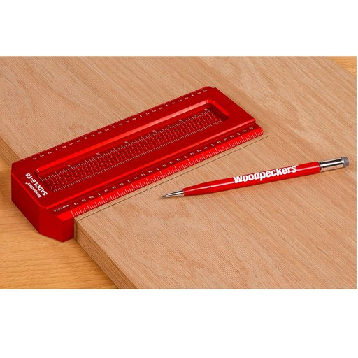 View a Larger Image of OneTime Tool Saddle T-Square Set, Inch, in Woodpeckers Case