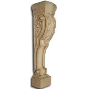 Knotty Pine Roman Island Height Corbel with Acanthus Leaves, Model 1406P