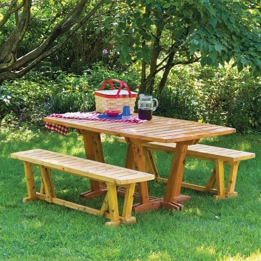View a Larger Image of Outdoor Table and Benches - Downloadable Plan